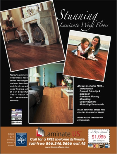 Laminate Flooring Company a little more about us Left Before Right After Design An Ad That Looks More Corporate And Takes The Client From A Laminate And Hardwood Company To A Flooring Company That Can