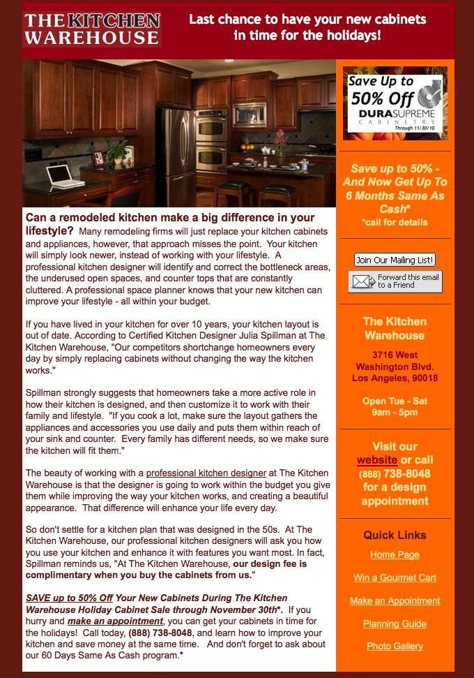 The Kitchen Warehouse Email Marketing Program Tailor